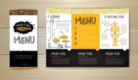 Gebratenes Fischrestaurantmenü-Konzeptdesign Template für Geschäftsgestaltungsarbeiten Stockfotografie