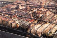 Gebratenes Fleisch auf einem Grill stockfoto