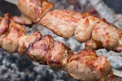 Gebratenes Fleisch auf Holzkohle Lizenzfreies Stockfoto