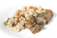 Gebratenes Fleisch mit Gemüse und Stockbild
