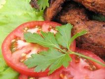 Gebratenes Fleisch und Gemüse stockfoto