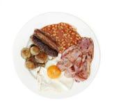 Gebratenes gekochtes englisches Frühstück angesehen von oben Lizenzfreie Stockfotos