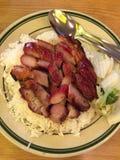 Gebratenes Grillschweinefleisch mit Reis Stockfotos