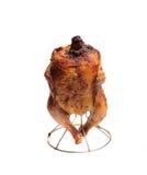 Gebratenes Huhn mit einer goldenen, knusperigen Kruste Stockbild