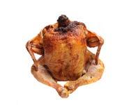 Gebratenes Huhn mit einer goldenen, knusperigen Kruste Stockbilder