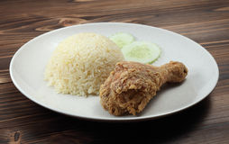 Gebratenes Huhn mit Reis Stockfotos