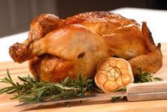 Gebratenes Huhn mit Rosmarin und Knoblauch Stockbild