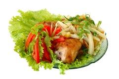 Gebratenes Huhn und Kartoffel lizenzfreie stockbilder