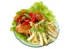 Gebratenes Huhn und Kartoffel lizenzfreies stockbild