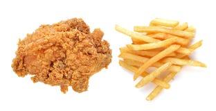 Gebratenes Huhn und Pommes-Frites Stockbild