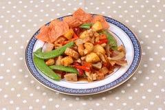 Gebratenes Mischobst und gemüse mit gebratener Paprikaplatte Stockfotos