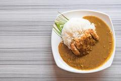 gebratenes Schweinefleisch mit Curryreis Stockfotografie