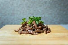 Gebratenes Schweinefleisch mit Pfeffer und Knoblauch Lizenzfreie Stockfotos