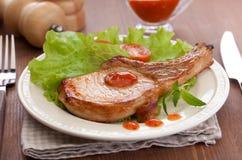 Gebratenes Schweinefleischkotelett Stockfotografie
