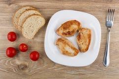 Gebratenes Truthahnfleisch in der Platte, im Brot, in den Tomaten und in der Gabel Lizenzfreie Stockbilder