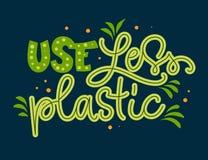 Gebrauch abz?glich des Plastiktextes - Beschriftungsphrase des Eco-Farbhandabgehobenen betrages vektor abbildung