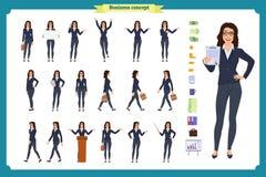 Gebrauchsfertiger Damenzeichensatz Junge Geschäftsfrau in der formellen Kleidung Verschiedene Haltungen und Gefühle vektor abbildung