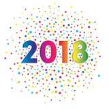 Gebrauchsfertiges Design für eine Postkarte, eine Fahne oder einen Flieger 2018-jährig Neues Jahr ` s und Weihnachten Feiertagsra vektor abbildung