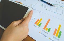 Gebrauchstablette der berufstätigen Frau für Arbeit mit Geschäftszusammenfassungs- oder Unternehmensplanbericht mit Diagrammen un Stockfotos