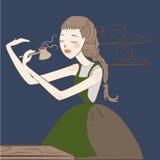 Gebrauter Kaffee des Mädchens barista im Türken Stockfotos