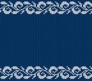 Gebreid blauw Kerstmis bloemenornament Naadloze de winter breit achtergrond royalty-vrije illustratie