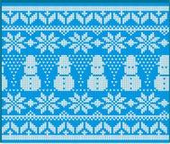 Gebreid de Sweaterontwerp van de de wintervakantie met Sneeuwman vector illustratie