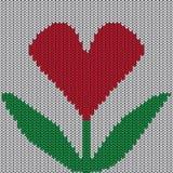 Gebreid hart. Valentine-dagkaart Stock Afbeelding