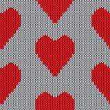 Gebreid hart. Valentine-dagkaart Stock Afbeeldingen