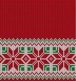 Gebreid Kerstmis en Nieuwjaarpatroon Stock Foto