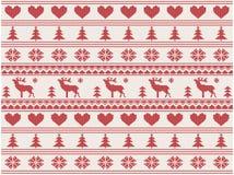 Gebreid Kerstmispatroon Royalty-vrije Stock Afbeelding