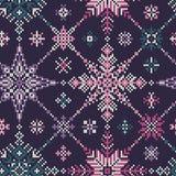 Gebreid naadloos multi-colored patroon van sneeuwvlokken Royalty-vrije Stock Foto's