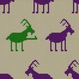 Gebreid naadloos patroon met geit Royalty-vrije Stock Afbeelding