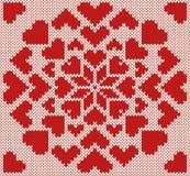 Gebreid noordelijk naadloos patroon met harten Royalty-vrije Stock Afbeelding