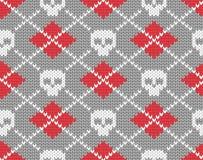 Gebreid patroon met schedels Stock Afbeelding