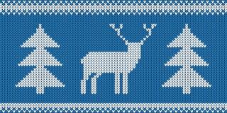 Gebreid Patroon - Retro Boom - Blauwe en Witte Vectorillustratie van Kerstmisjumper design with reindeer and stock illustratie