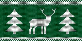 Gebreid Patroon - Retro Boom - Groene en Witte Vectorillustratie van Kerstmisjumper design with reindeer and royalty-vrije illustratie