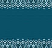 Gebreid vakantie geometrisch ornament met lege ruimte voor tekst Brei de blauwe textuur van de kleurensweater royalty-vrije illustratie