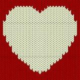 Gebreid vectorpatroon met rood hart Stock Afbeelding