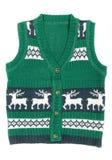 Gebreid vest met een ornament van Kerstmis (met herten) Stock Fotografie