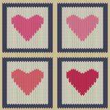 Gebreid wollen naadloos patroon met roze harten in uitstekende vierkanten Royalty-vrije Stock Fotografie