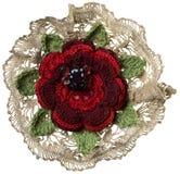 Gebreide bloembroche Stock Afbeelding