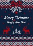 Gebreide Groetkaart of Uitnodiging voor Kerstmispartij Vrolijke Chris Stock Fotografie