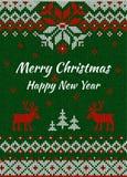 Gebreide Groetkaart of Uitnodiging voor Kerstmispartij Vrolijke Chris Stock Afbeeldingen