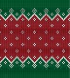 Gebreide Kerstmis en Nieuwjaarpatroon Noorse stijl, illustratie royalty-vrije stock afbeeldingen