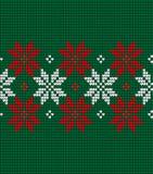 Gebreide Kerstmis en Nieuwjaarpatroon Noorse stijl, illustratie royalty-vrije stock afbeelding