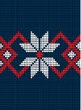 Gebreide Kerstmis en Nieuwjaarpatroon Noorse stijl, illustratie stock foto's