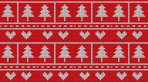 Gebreide Kerstmis op rood ontwerp als achtergrond Stock Afbeeldingen