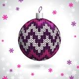 Gebreide Kerstmisbal Stock Foto