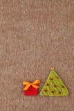 Gebreide prentbriefkaar met Kerstmis Stock Foto's