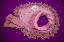 Gebreide sjaal met vuisthandschoenen voor Kerstmis royalty-vrije stock foto